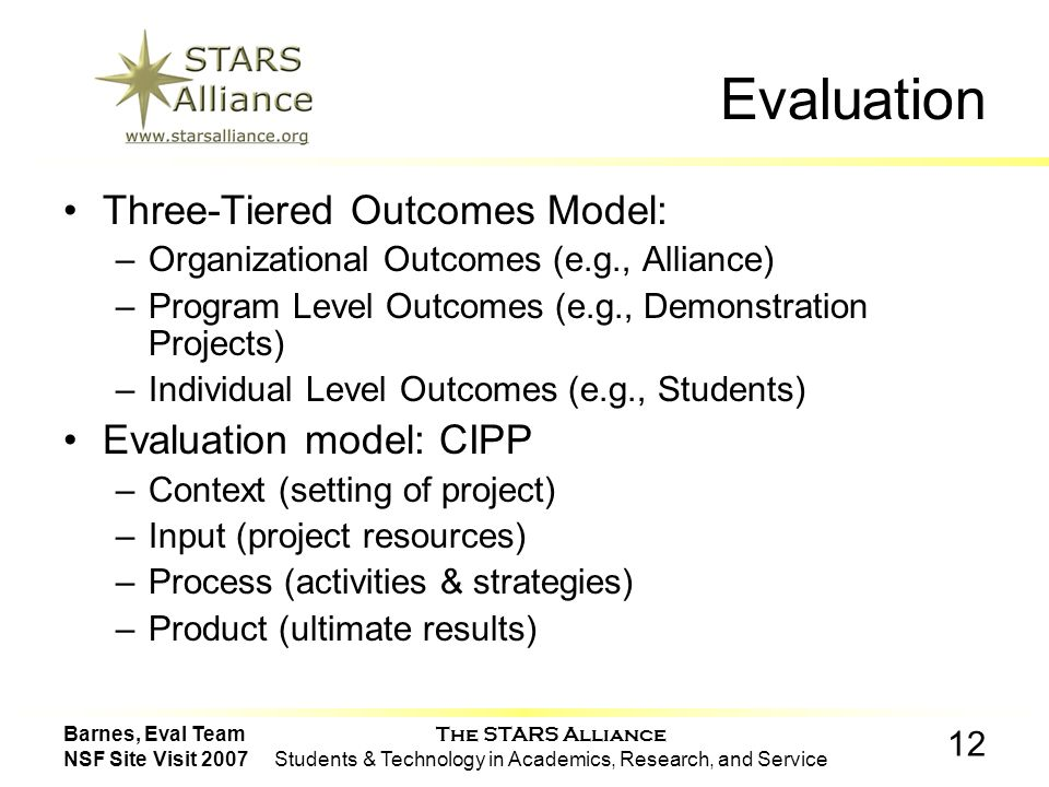 The STARS Alliance Students & Technology in Academics, Research, and Service 12 Barnes, Eval Team NSF Site Visit 2007 Evaluation Three-Tiered Outcomes Model: –Organizational Outcomes (e.g., Alliance) –Program Level Outcomes (e.g., Demonstration Projects) –Individual Level Outcomes (e.g., Students) Evaluation model: CIPP –Context (setting of project) –Input (project resources) –Process (activities & strategies) –Product (ultimate results)