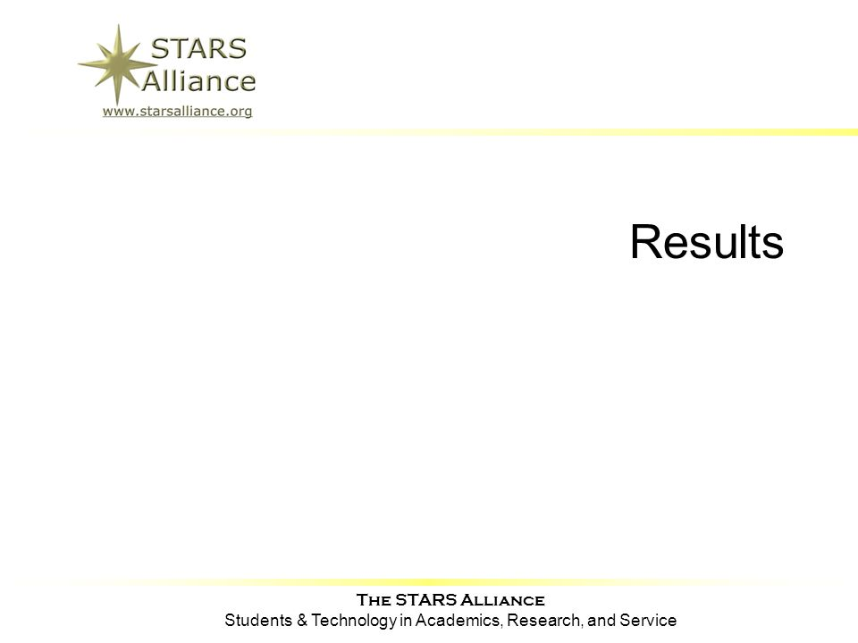 The STARS Alliance Students & Technology in Academics, Research, and Service Results