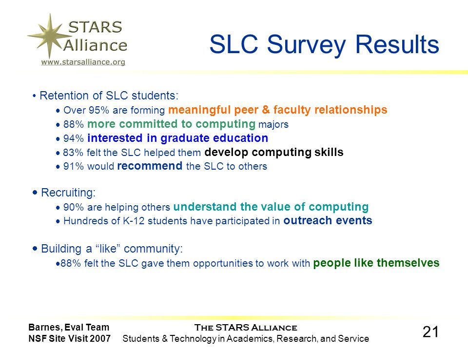 The STARS Alliance Students & Technology in Academics, Research, and Service 21 Barnes, Eval Team NSF Site Visit 2007 SLC Survey Results Retention of SLC students: Over 95% are forming meaningful peer & faculty relationships 88% more committed to computing majors 94% interested in graduate education 83% felt the SLC helped them develop computing skills 91% would recommend the SLC to others Recruiting: 90% are helping others understand the value of computing Hundreds of K-12 students have participated in outreach events Building a like community: 88% felt the SLC gave them opportunities to work with people like themselves
