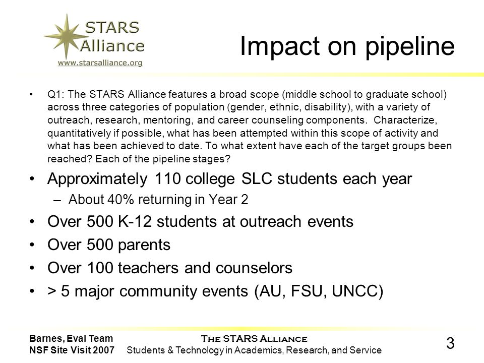 The STARS Alliance Students & Technology in Academics, Research, and Service 3 Barnes, Eval Team NSF Site Visit 2007 Impact on pipeline Q1: The STARS Alliance features a broad scope (middle school to graduate school) across three categories of population (gender, ethnic, disability), with a variety of outreach, research, mentoring, and career counseling components.