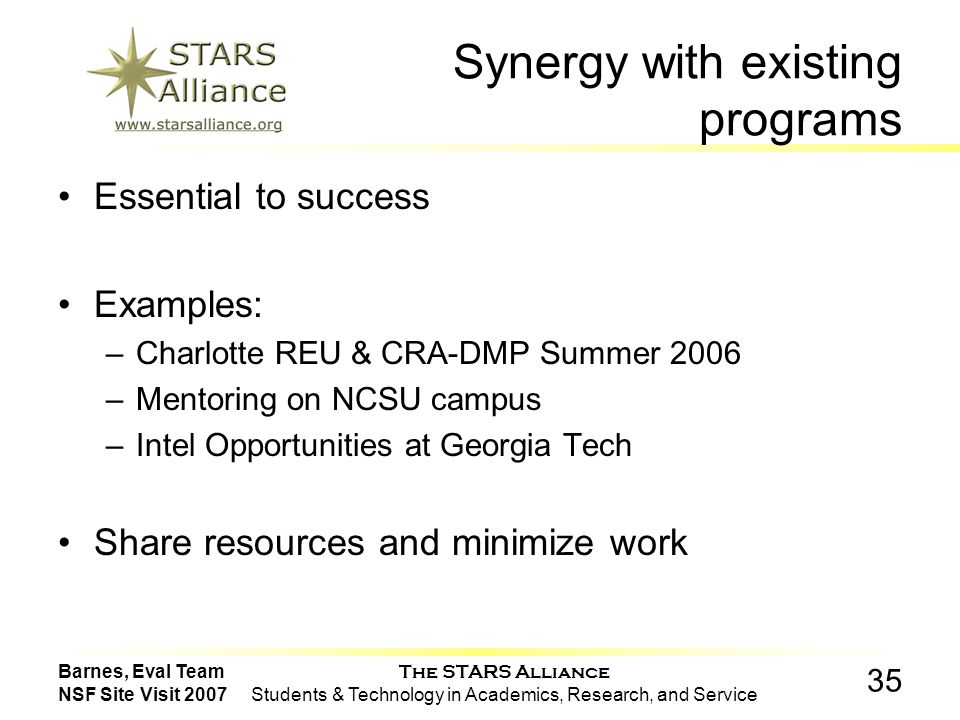 The STARS Alliance Students & Technology in Academics, Research, and Service 35 Barnes, Eval Team NSF Site Visit 2007 Synergy with existing programs Essential to success Examples: –Charlotte REU & CRA-DMP Summer 2006 –Mentoring on NCSU campus –Intel Opportunities at Georgia Tech Share resources and minimize work
