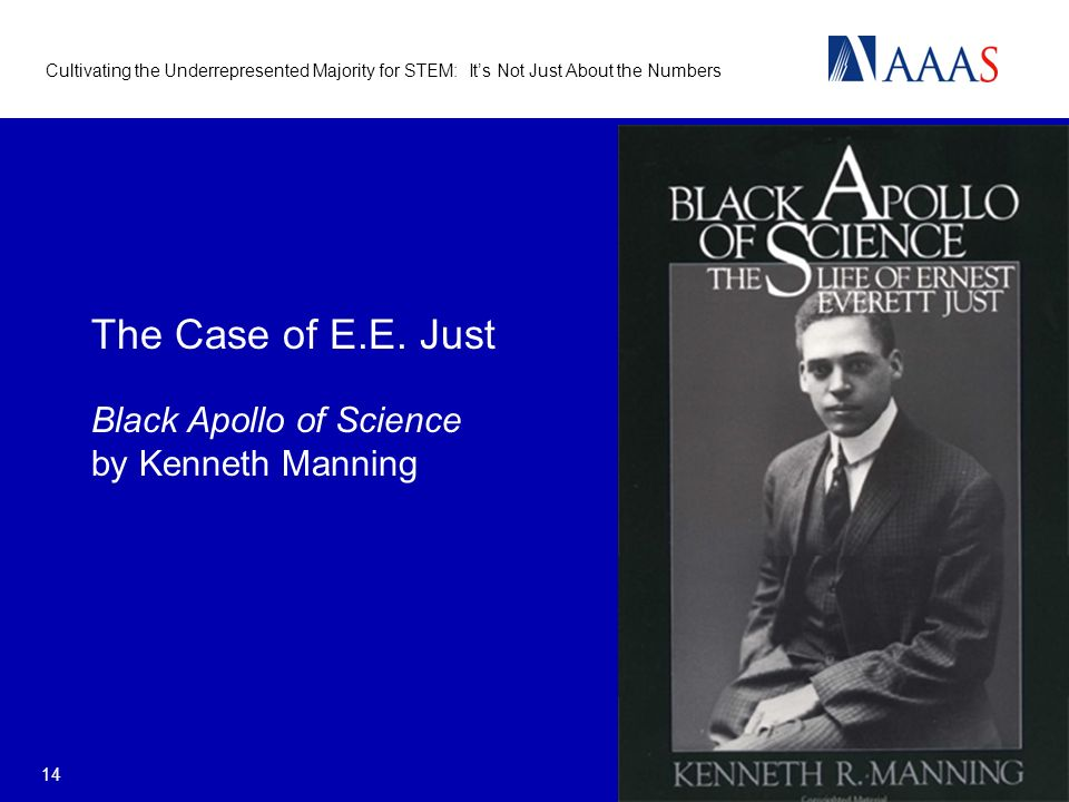 Cultivating the Underrepresented Majority for STEM: Its Not Just About the Numbers 14 The Case of E.E. Just Black Apollo of Science by Kenneth Manning