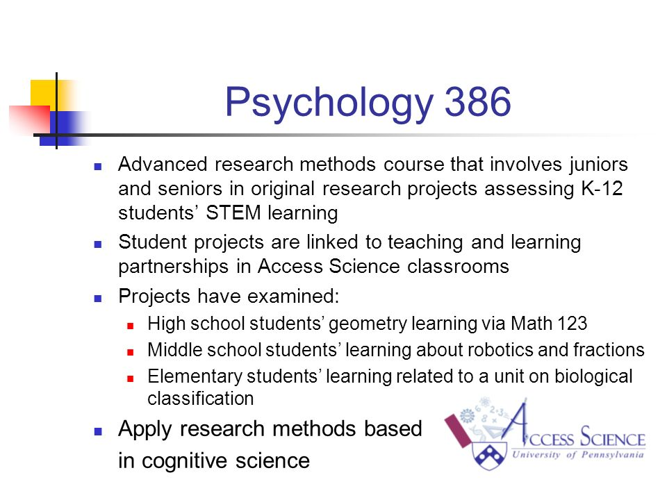 Psychology 386 Advanced research methods course that involves juniors and seniors in original research projects assessing K-12 students STEM learning Student projects are linked to teaching and learning partnerships in Access Science classrooms Projects have examined: High school students geometry learning via Math 123 Middle school students learning about robotics and fractions Elementary students learning related to a unit on biological classification Apply research methods based in cognitive science