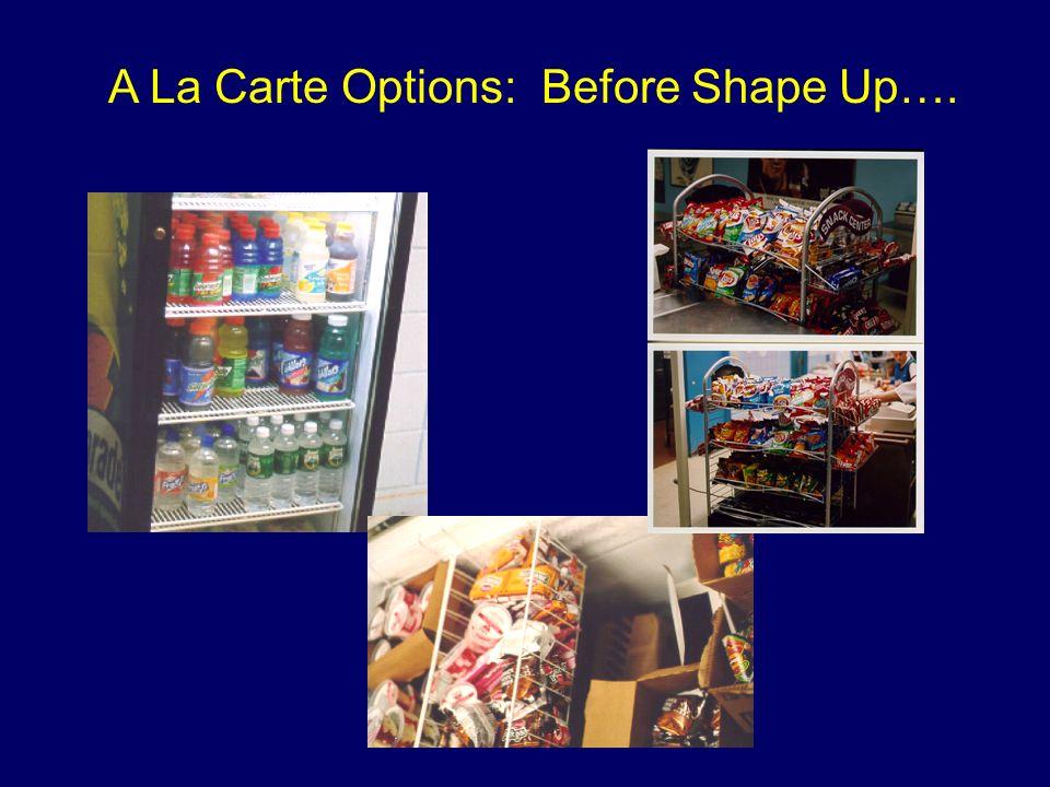 A La Carte Options: Before Shape Up….