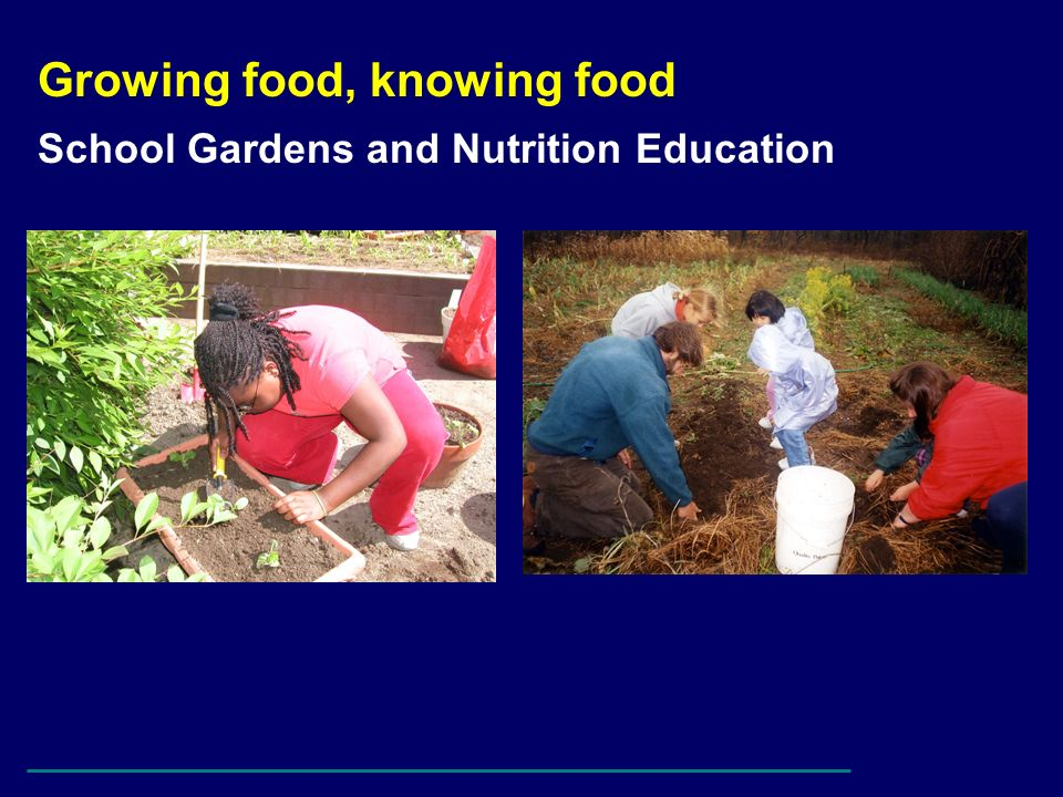 Growing food, knowing food School Gardens and Nutrition Education