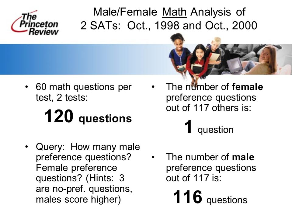 Male/Female Math Analysis of 2 SATs: Oct., 1998 and Oct., 2000 60 math questions per test, 2 tests: 120 questions Query: How many male preference questions.