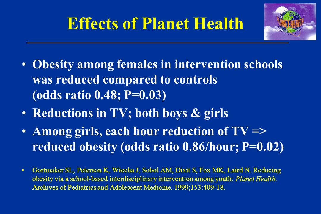 Effects of Planet Health Obesity among females in intervention schools was reduced compared to controls (odds ratio 0.48; P=0.03) Reductions in TV; both boys & girls Among girls, each hour reduction of TV => reduced obesity (odds ratio 0.86/hour; P=0.02) Gortmaker SL, Peterson K, Wiecha J, Sobol AM, Dixit S, Fox MK, Laird N.