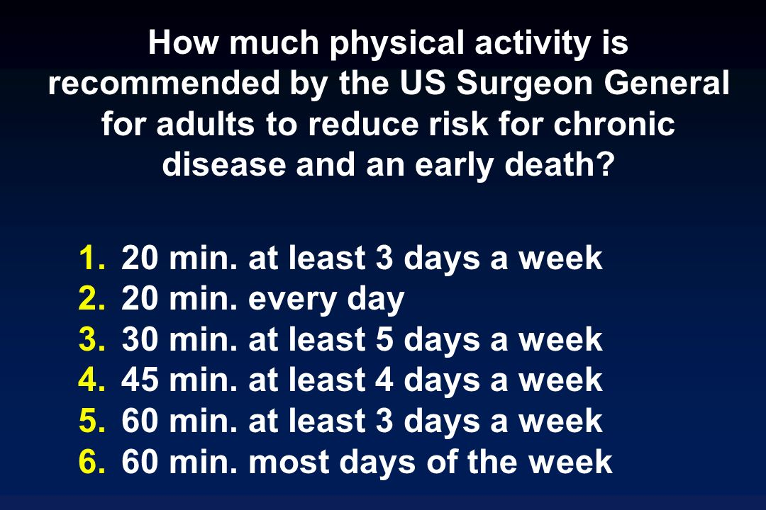 How much physical activity is recommended by the US Surgeon General for adults to reduce risk for chronic disease and an early death.
