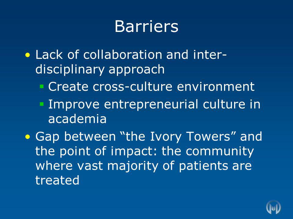 Barriers Lack of collaboration and inter- disciplinary approach Create cross-culture environment Improve entrepreneurial culture in academia Gap between the Ivory Towers and the point of impact: the community where vast majority of patients are treated
