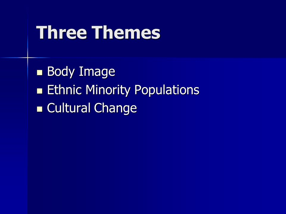 Three Themes Body Image Body Image Ethnic Minority Populations Ethnic Minority Populations Cultural Change Cultural Change