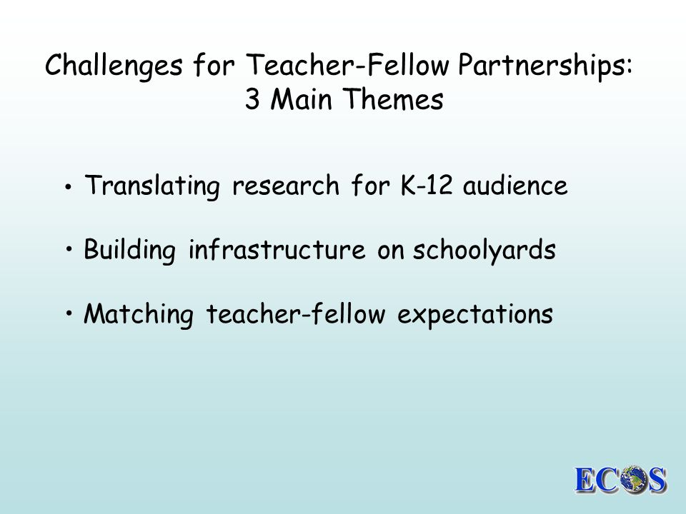 Challenges for Teacher-Fellow Partnerships: 3 Main Themes Translating research for K-12 audience Building infrastructure on schoolyards Matching teacher-fellow expectations