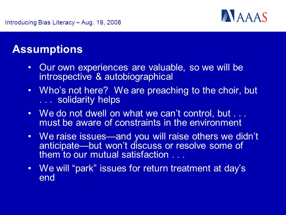 Introducing Bias Literacy – Aug. 19, 2008 Vital Distinctions Research... Advocacy... Policy