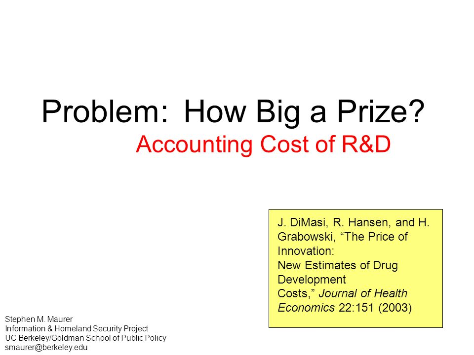 Problem: How Big a Prize. Accounting Cost of R&D J.
