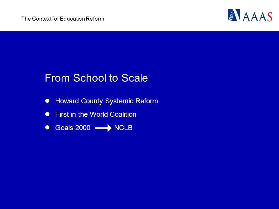 The Context for Education Reform From School to Scale Howard County Systemic Reform First in the World Coalition Goals 2000 NCLB