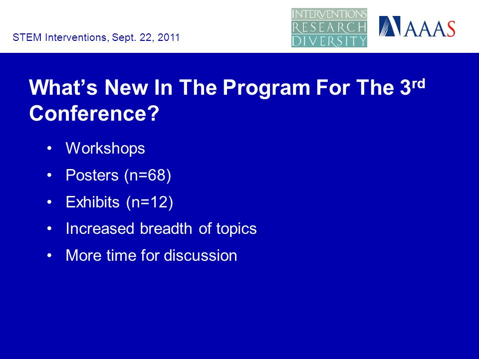 Whats New In The Program For The 3 rd Conference.