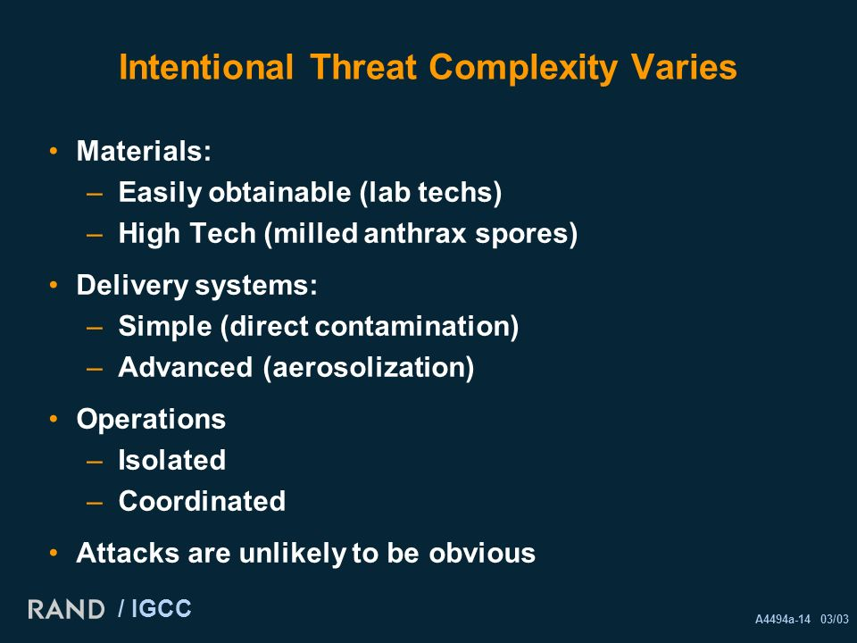 A4494a-14 03/03 / IGCC Intentional Threat Complexity Varies Materials: –Easily obtainable (lab techs) –High Tech (milled anthrax spores) Delivery systems: –Simple (direct contamination) –Advanced (aerosolization) Operations –Isolated –Coordinated Attacks are unlikely to be obvious