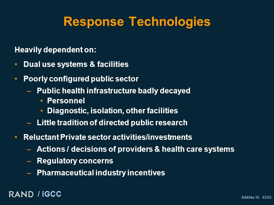 A4494a-16 03/03 / IGCC Response Technologies Heavily dependent on: Dual use systems & facilities Poorly configured public sector –Public health infrastructure badly decayed Personnel Diagnostic, isolation, other facilities –Little tradition of directed public research Reluctant Private sector activities/investments –Actions / decisions of providers & health care systems –Regulatory concerns –Pharmaceutical industry incentives