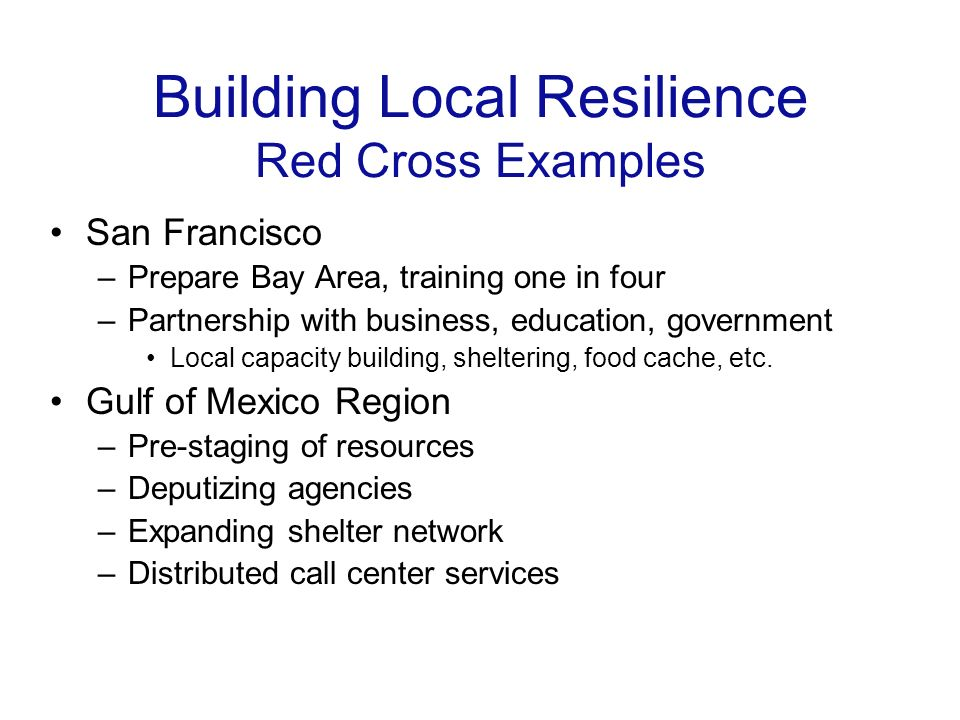 Building Local Resilience Red Cross Examples San Francisco –Prepare Bay Area, training one in four –Partnership with business, education, government Local capacity building, sheltering, food cache, etc.