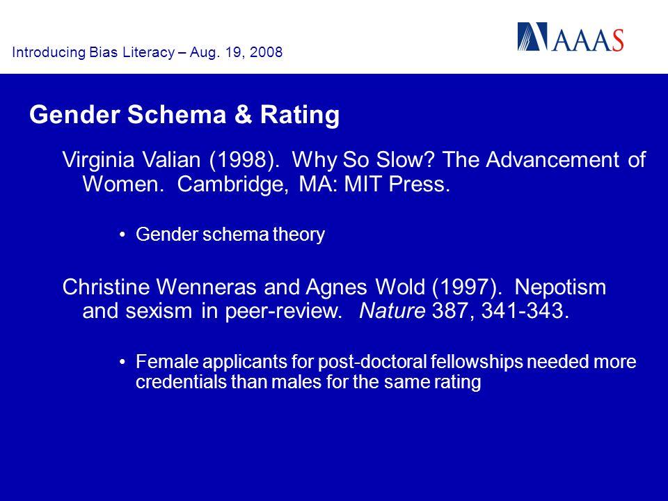 Introducing Bias Literacy – Aug. 19, 2008 Virginia Valian (1998).