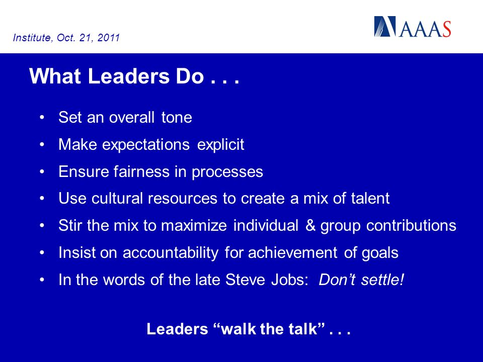 What Leaders Do...