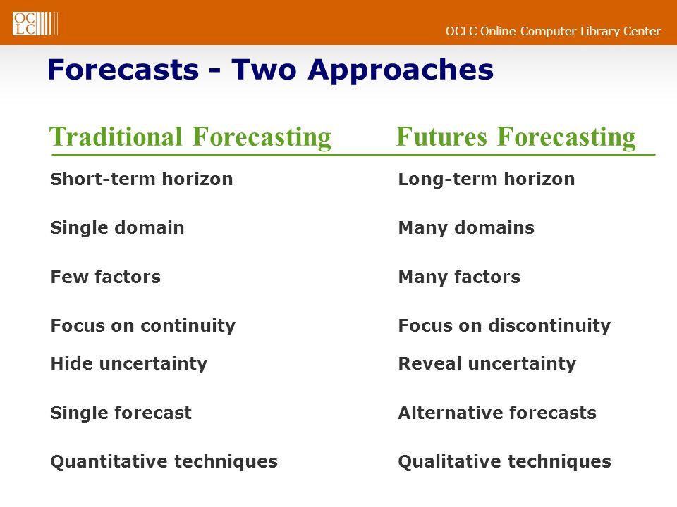 OCLC Online Computer Library Center Short-term horizonLong-term horizon Single domainMany domains Few factorsMany factors Focus on continuityFocus on discontinuity Hide uncertaintyReveal uncertainty Single forecastAlternative forecasts Quantitative techniquesQualitative techniques Traditional Forecasting Futures Forecasting Forecasts - Two Approaches