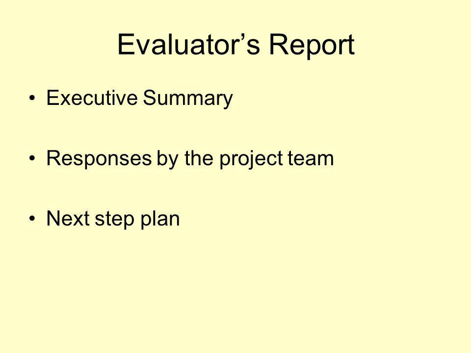 Evaluators Report Executive Summary Responses by the project team Next step plan