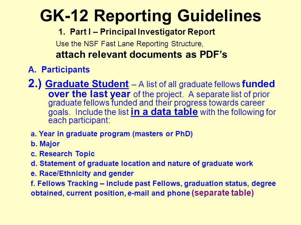 GK-12 Reporting Guidelines A. Participants 2.) Graduate Student – A list of all graduate fellows funded over the last year of the project. A separate