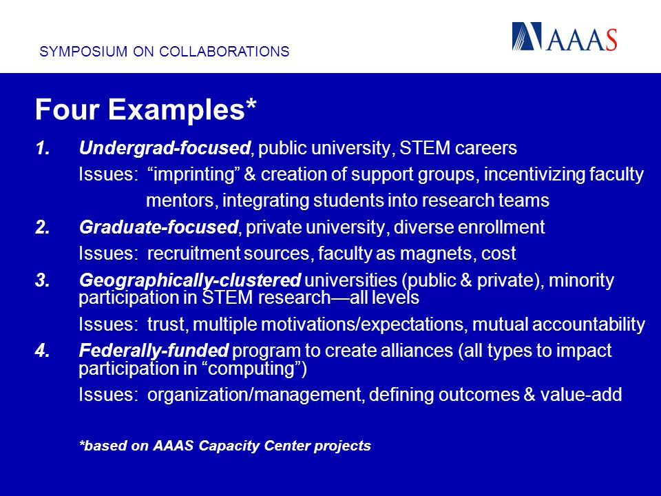SYMPOSIUM ON COLLABORATIONS Four Examples* 1.Undergrad-focused, public university, STEM careers Issues: imprinting & creation of support groups, incentivizing faculty mentors, integrating students into research teams 2.Graduate-focused, private university, diverse enrollment Issues: recruitment sources, faculty as magnets, cost 3.Geographically-clustered universities (public & private), minority participation in STEM researchall levels Issues: trust, multiple motivations/expectations, mutual accountability 4.Federally-funded program to create alliances (all types to impact participation in computing) Issues: organization/management, defining outcomes & value-add *based on AAAS Capacity Center projects Four Examples*