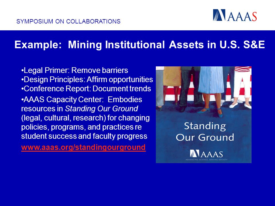 SYMPOSIUM ON COLLABORATIONS Example: Mining Institutional Assets in U.S. S&E Legal Primer: Remove barriers Design Principles: Affirm opportunities Con