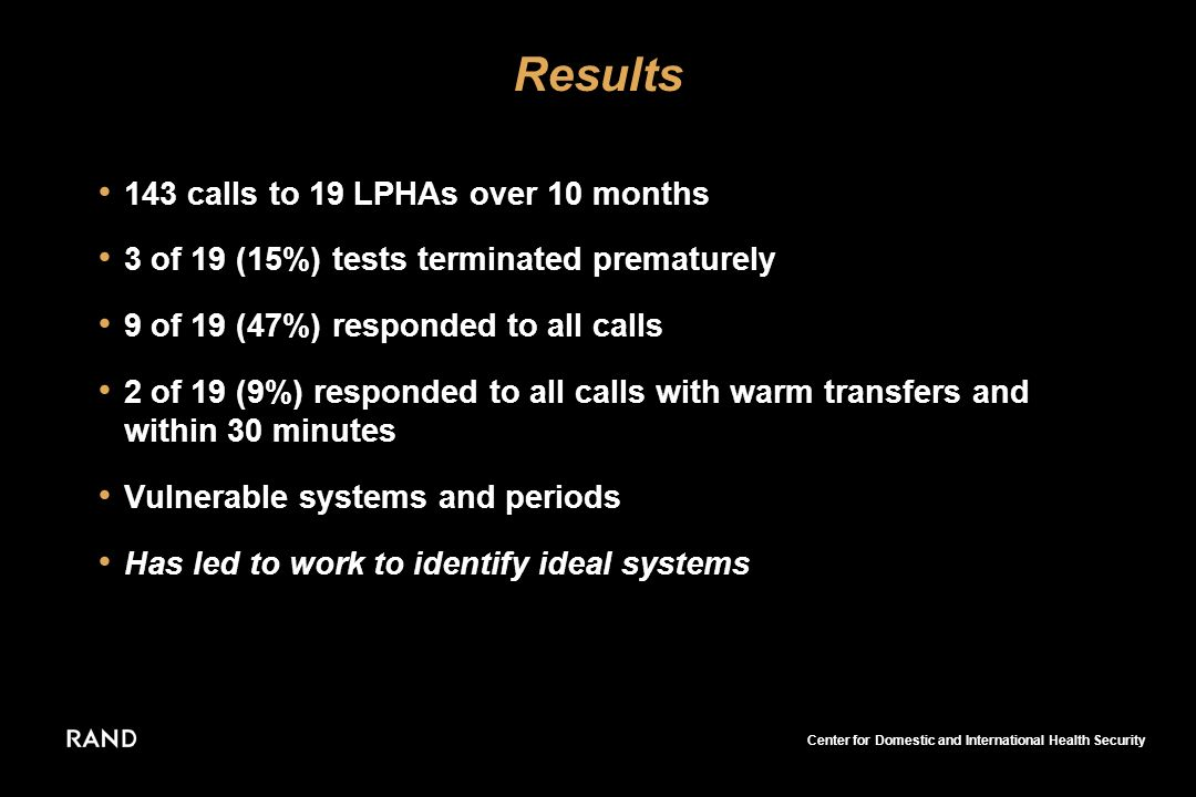 Center for Domestic and International Health Security Results 143 calls to 19 LPHAs over 10 months 3 of 19 (15%) tests terminated prematurely 9 of 19 (47%) responded to all calls 2 of 19 (9%) responded to all calls with warm transfers and within 30 minutes Vulnerable systems and periods Has led to work to identify ideal systems