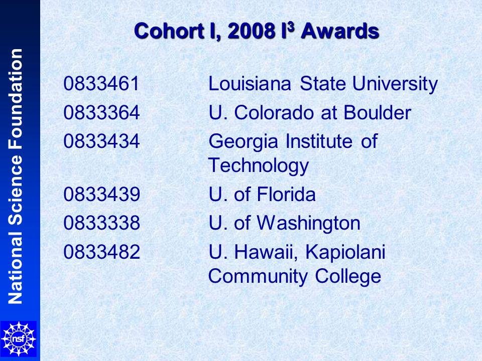 National Science Foundation Cohort I, 2008 I 3 Awards 0833461 Louisiana State University 0833364 U. Colorado at Boulder 0833434 Georgia Institute of T