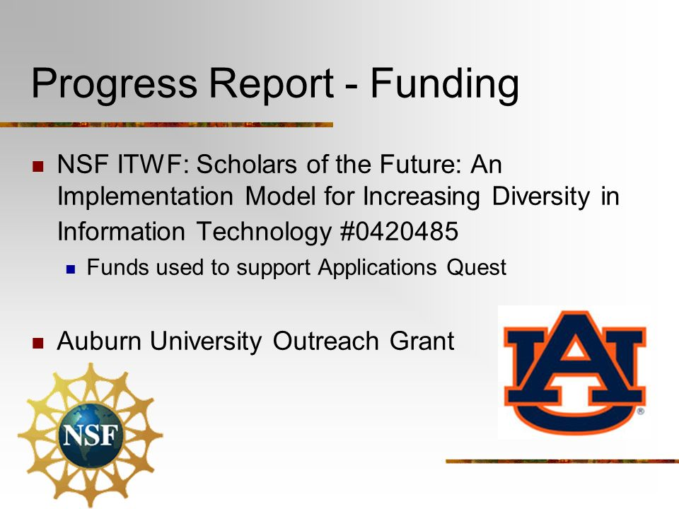 Progress Report - Funding NSF ITWF: Scholars of the Future: An Implementation Model for Increasing Diversity in Information Technology # Funds used to support Applications Quest Auburn University Outreach Grant