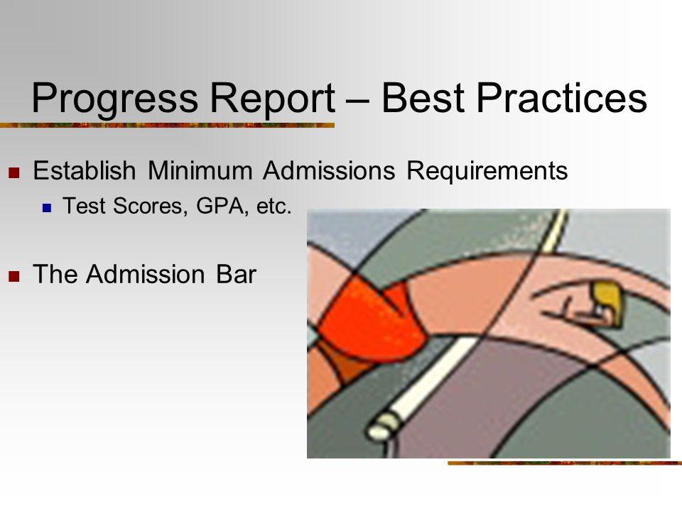 Progress Report – Best Practices Establish Minimum Admissions Requirements Test Scores, GPA, etc. The Admission Bar