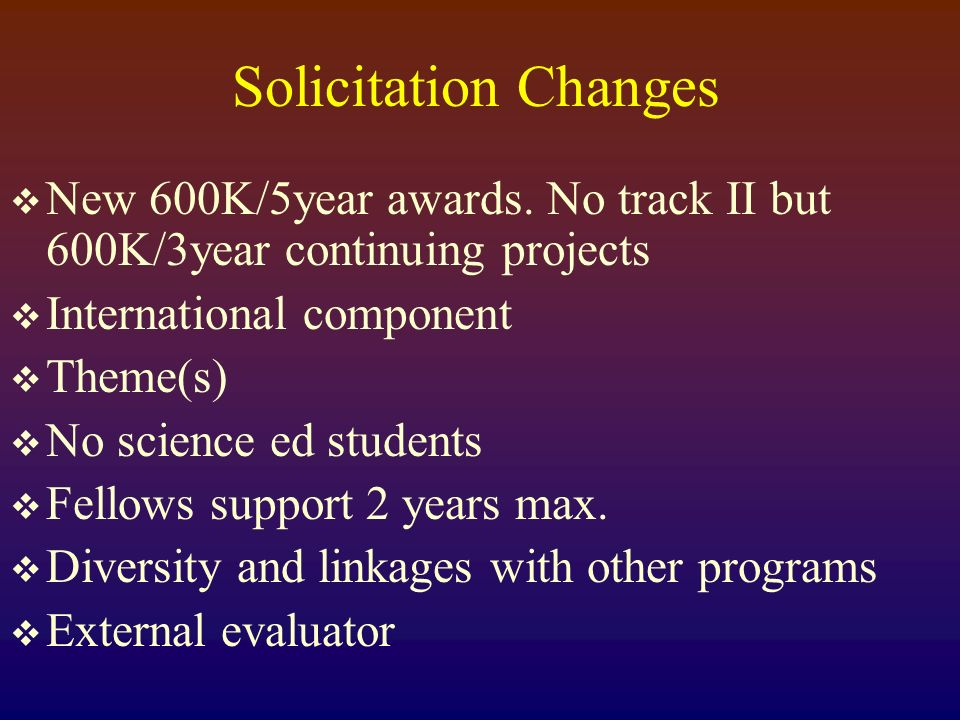 Solicitation Changes New 600K/5year awards.