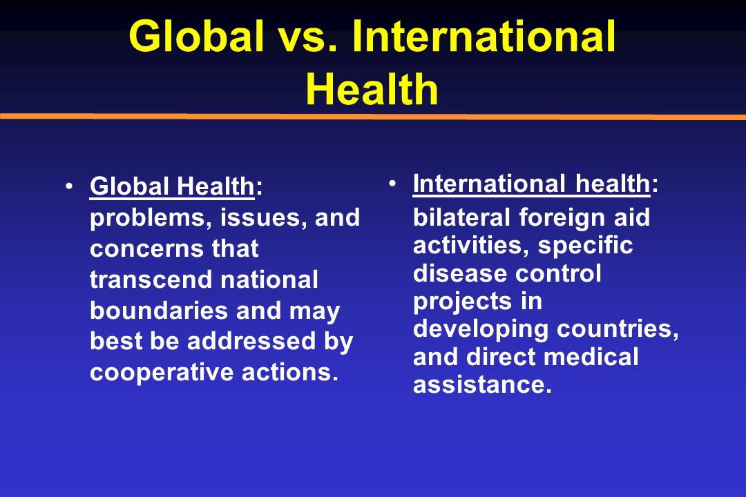 Global vs. International Health Global Health: problems, issues, and concerns that transcend national boundaries and may best be addressed by cooperat
