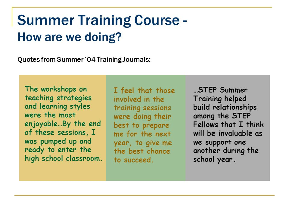 Summer Training Course - How are we doing? Quotes from Summer 04 Training Journals: …STEP Summer Training helped build relationships among the STEP Fe