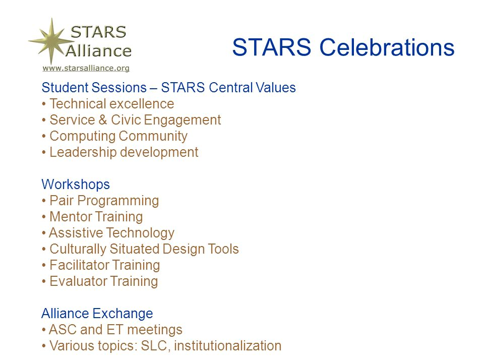 STARS Celebrations Student Sessions – STARS Central Values Technical excellence Service & Civic Engagement Computing Community Leadership development Workshops Pair Programming Mentor Training Assistive Technology Culturally Situated Design Tools Facilitator Training Evaluator Training Alliance Exchange ASC and ET meetings Various topics: SLC, institutionalization