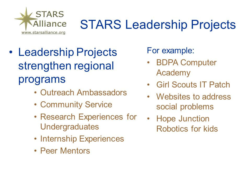 STARS Leadership Projects Leadership Projects strengthen regional programs Outreach Ambassadors Community Service Research Experiences for Undergraduates Internship Experiences Peer Mentors For example: BDPA Computer Academy Girl Scouts IT Patch Websites to address social problems Hope Junction Robotics for kids