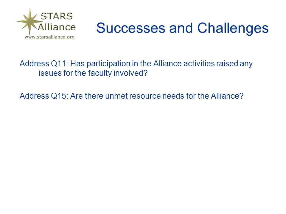 Successes and Challenges Address Q11: Has participation in the Alliance activities raised any issues for the faculty involved.