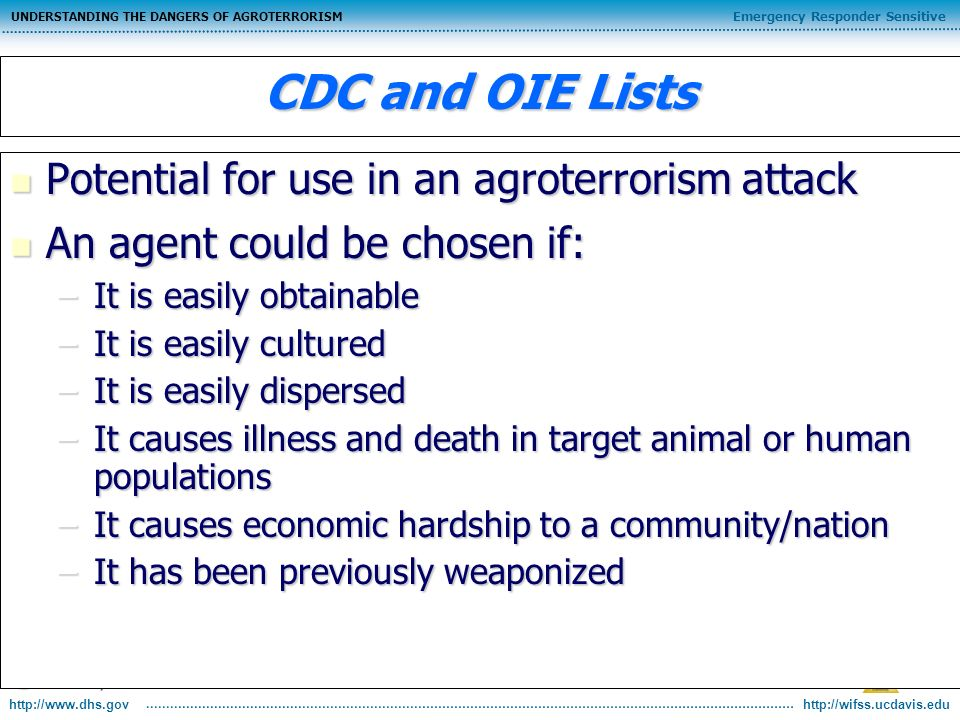 http://wifss.ucdavis.edu Emergency Responder Sensitive UNDERSTANDING THE DANGERS OF AGROTERRORISM http://www.dhs.gov CDC and OIE Lists Potential for u