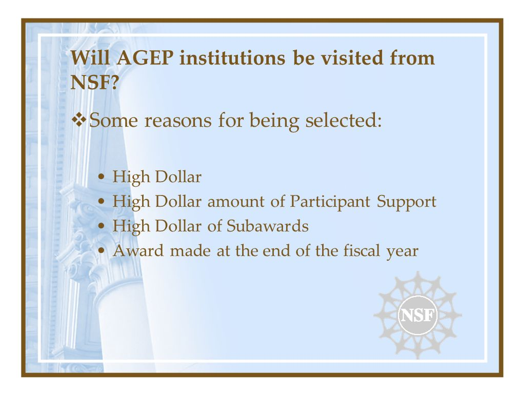 Will AGEP institutions be visited from NSF? Some reasons for being selected: High Dollar High Dollar amount of Participant Support High Dollar of Suba