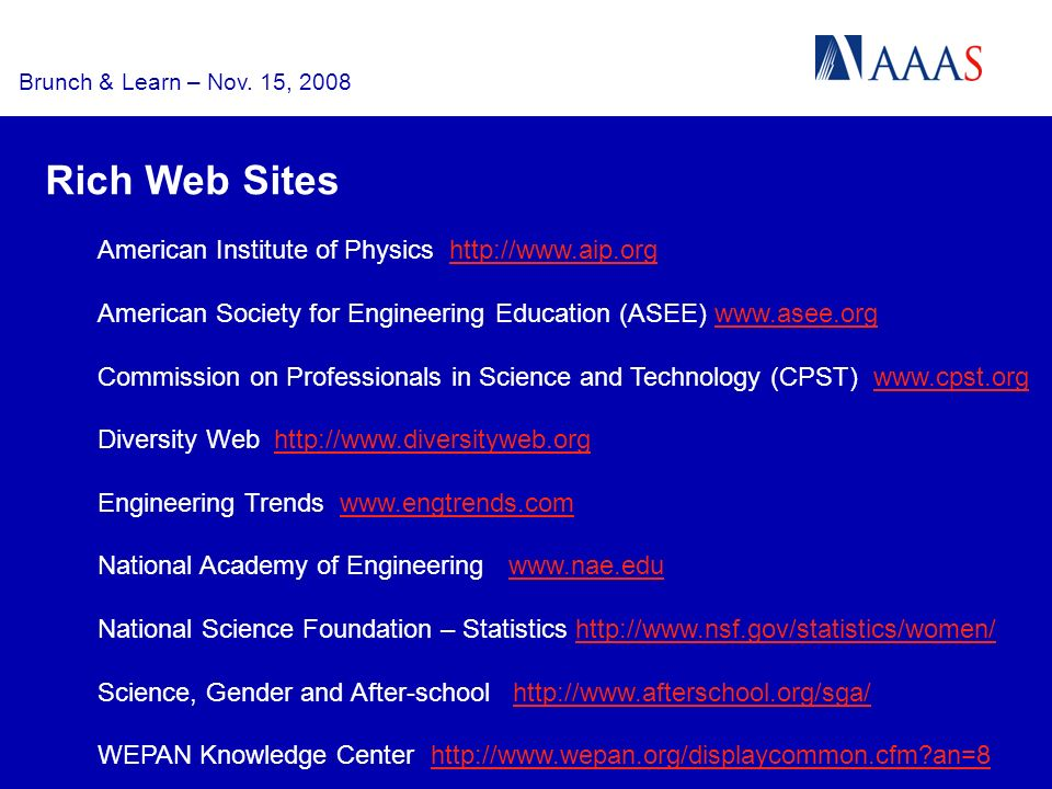 Brunch & Learn – Nov. 15, 2008 American Institute of Physics http://www.aip.orghttp://www.aip.org American Society for Engineering Education (ASEE) ww