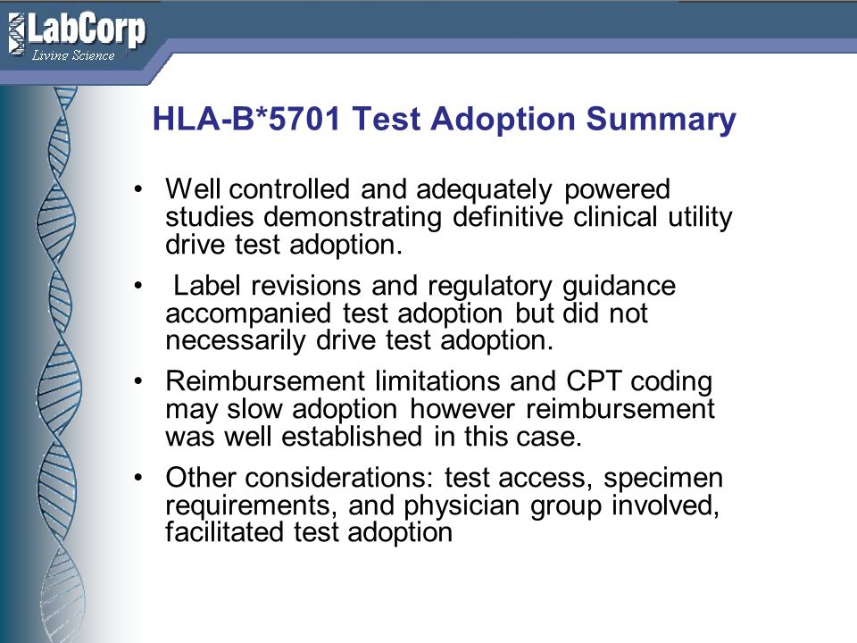 Living Science HLA-B*5701 Test Adoption Summary Well controlled and adequately powered studies demonstrating definitive clinical utility drive test adoption.