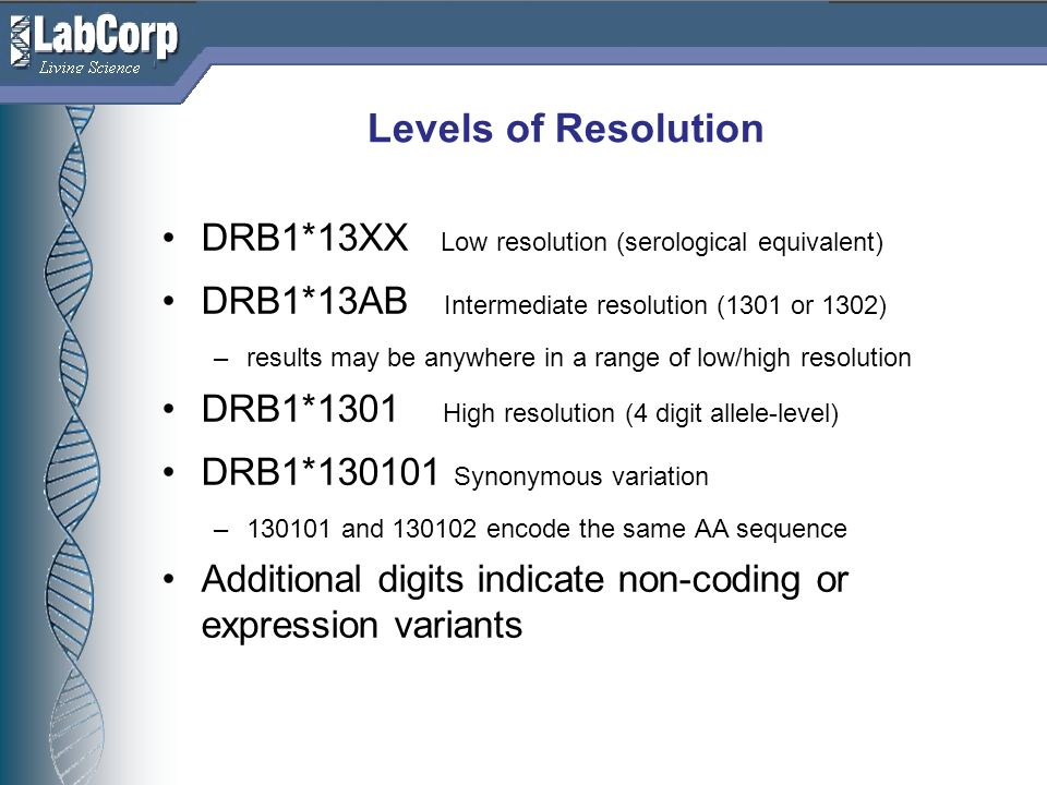 Living Science Levels of Resolution DRB1*13XX Low resolution (serological equivalent) DRB1*13AB Intermediate resolution (1301 or 1302) –results may be anywhere in a range of low/high resolution DRB1*1301 High resolution (4 digit allele-level) DRB1*130101 Synonymous variation –130101 and 130102 encode the same AA sequence Additional digits indicate non-coding or expression variants