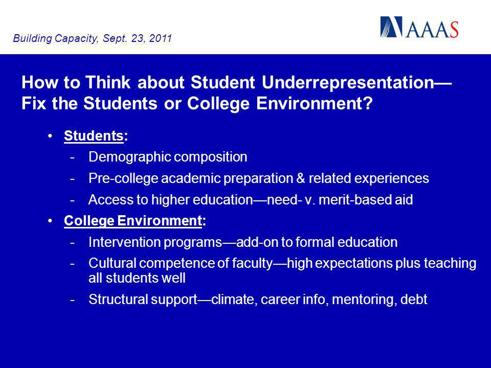 Students: -Demographic composition -Pre-college academic preparation & related experiences -Access to higher educationneed- v. merit-based aid College