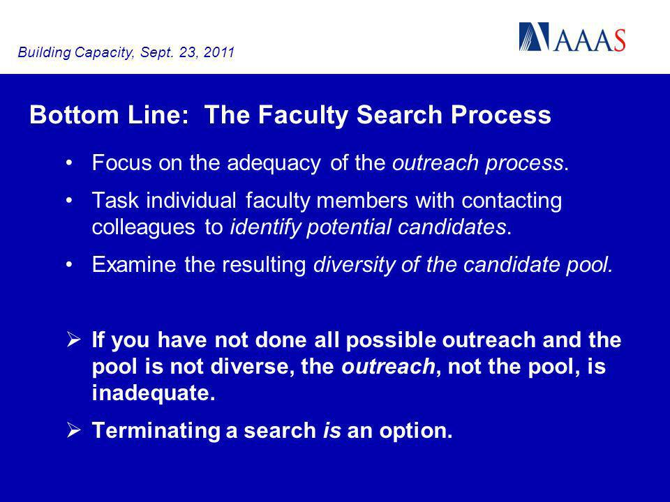 Bottom Line: The Faculty Search Process Focus on the adequacy of the outreach process.