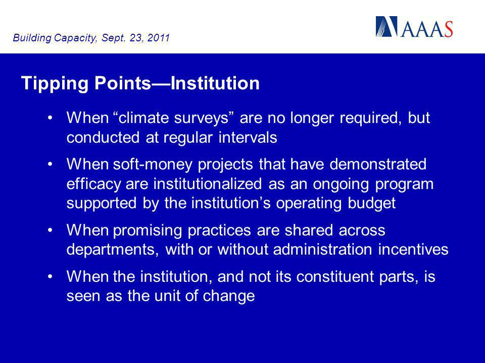 Tipping PointsInstitution When climate surveys are no longer required, but conducted at regular intervals When soft-money projects that have demonstra