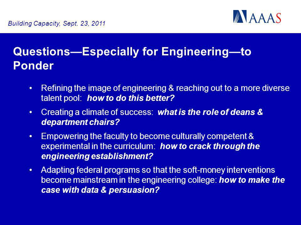 QuestionsEspecially for Engineeringto Ponder Refining the image of engineering & reaching out to a more diverse talent pool: how to do this better.