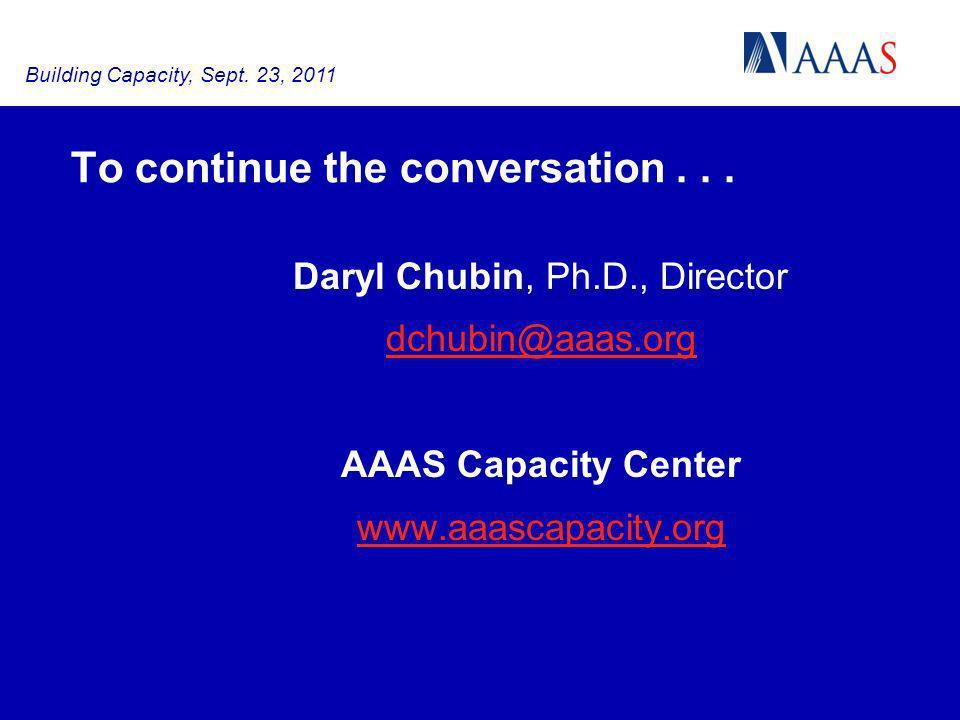To continue the conversation... Daryl Chubin, Ph.D., Director dchubin@aaas.org AAAS Capacity Center www.aaascapacity.org Building Capacity, Sept. 23,