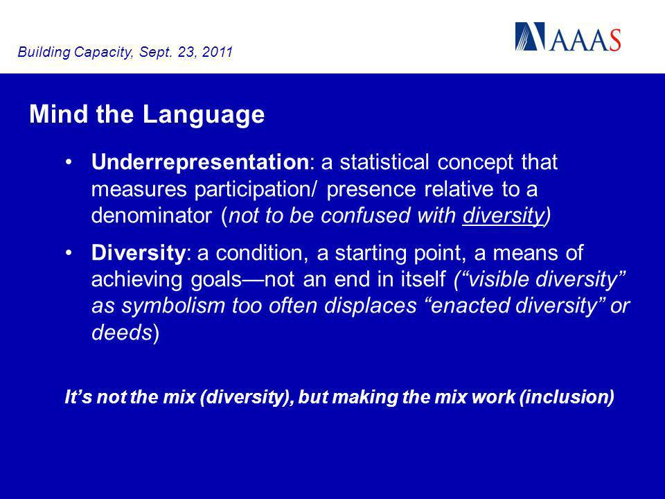 Mind the Language Underrepresentation: a statistical concept that measures participation/ presence relative to a denominator (not to be confused with diversity) Diversity: a condition, a starting point, a means of achieving goalsnot an end in itself (visible diversity as symbolism too often displaces enacted diversity or deeds) Its not the mix (diversity), but making the mix work (inclusion) Building Capacity, Sept.